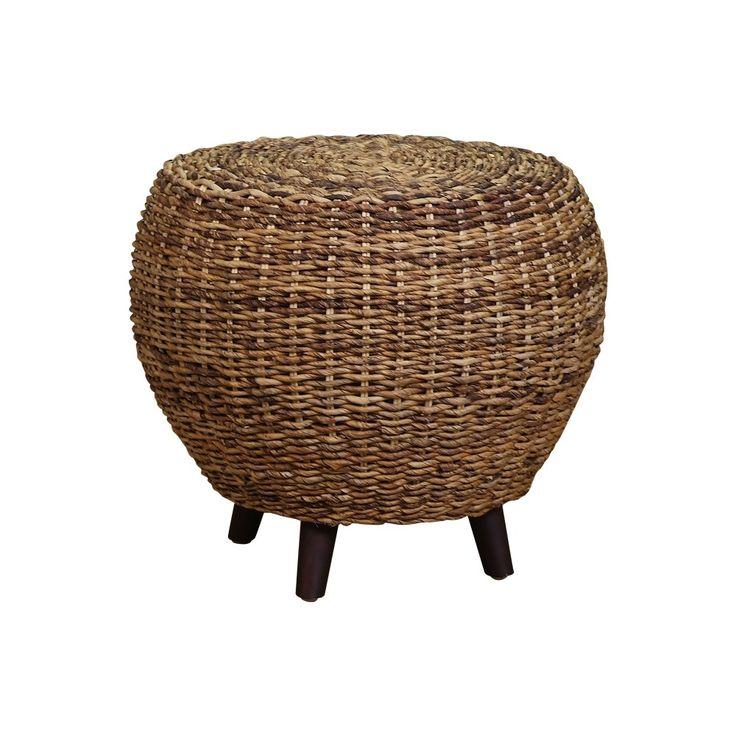 Tonga Rnd Footstool-Side Table Natural Abaca