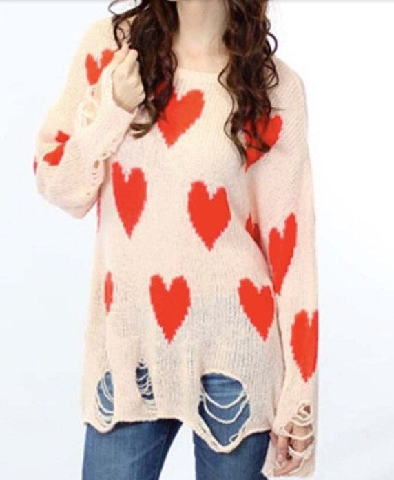 Red Heart Pattern Knit Sweater, Love Knit, Chunky Knitted, Destroyed Knitted, Soft Knitwear, Women Knitwear, Heart Knit, Jumper, Knit Top by Chedeliko on Etsy