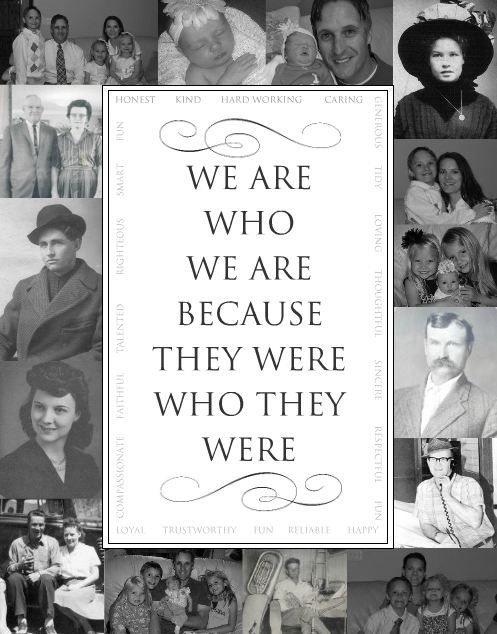 """We Are Who We Are Because They Were Who They Were."" ~ In addition to a lovely heritage quote, this is also a great Opening page idea...surround any heritage quote, album title, dedication, surname or monogram with a photo quilt...so striking!"