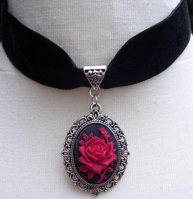 Gothic Victorian Black Velvet Red Rose Cameo Choker - Necklaces | RebelsMarket
