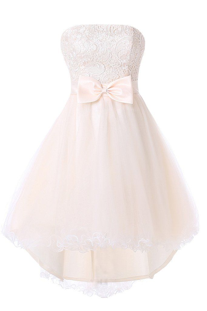 Vienna Bride Strapless Lace Homecoming Cocktail Dress Short Party Prom Dress-8 | Pink