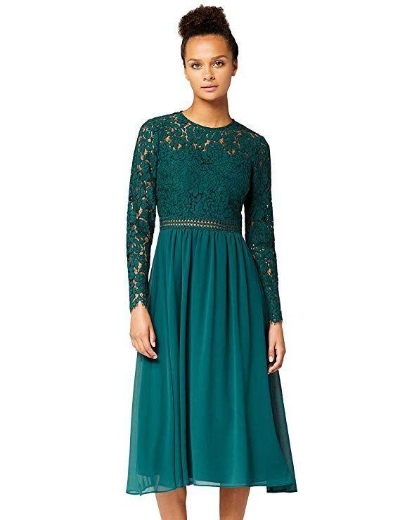 Amazon-Marke: TRUTH & FABLE Damen Midi A-Linien-Kleid aus ...