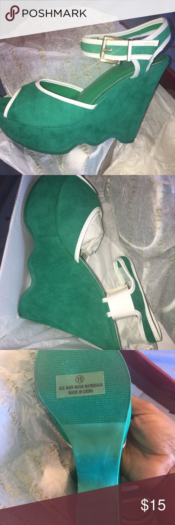 Green Wedge with White trim *Never Worn* Beautiful sea green wedge with white trim. Great with a maxi dress or wide leg pant! Shoes Wedges