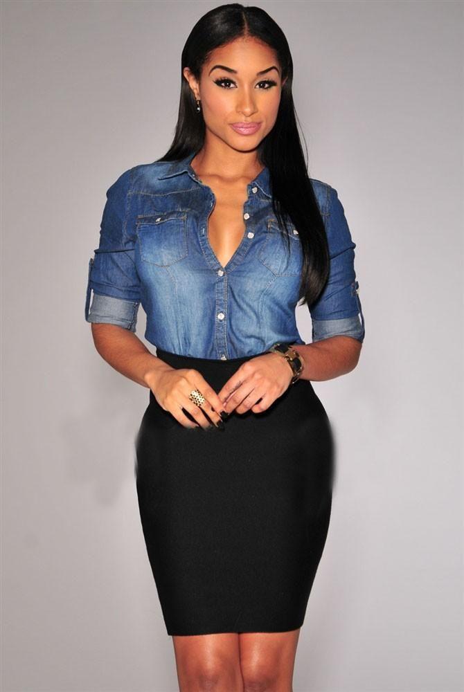 Women Slim Style Denim Shirt Lapel Jean Top Button Down Irregular Hem Pocket Blouse  Coat  Long Sleeve