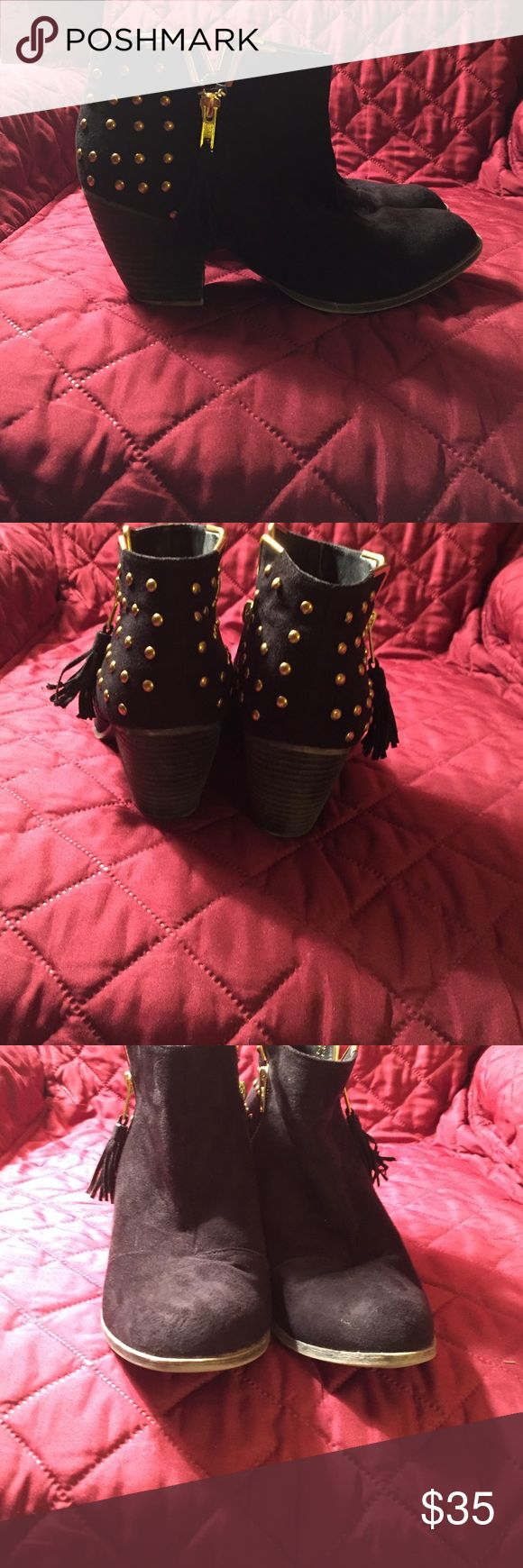 Shoe dazzle studded ankle boot Studded ankle boot in black suede with gold studs. Tassel zipper. Has wear to them but it is a stylish boot. Shoe Dazzle Shoes Ankle Boots & Booties