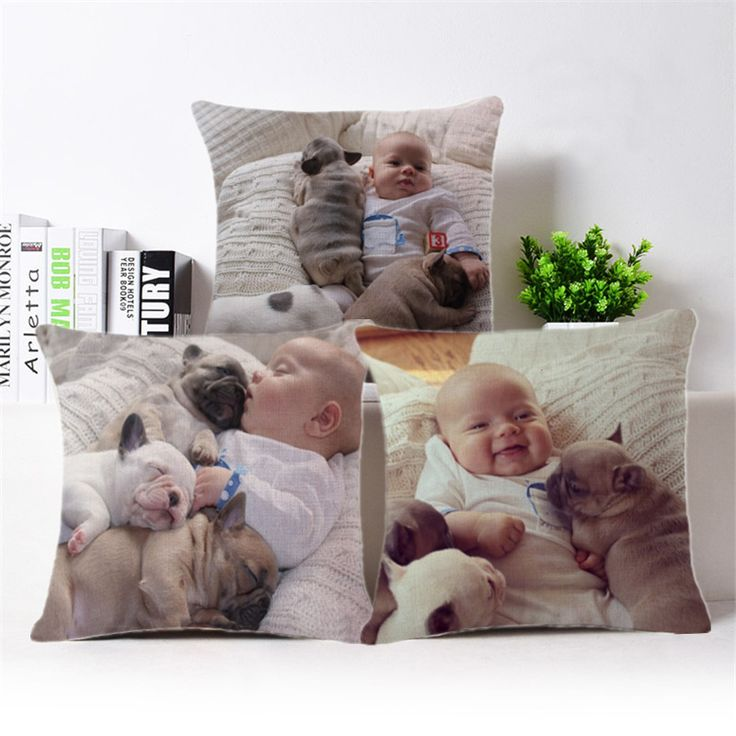 3D Bulldog Cotton Linen colourfu Bull Terrier Painted Bull dog dachshund 3D Cheap Cushion Cover For Home Sofa Pillow Case Cojine