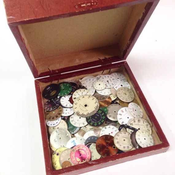 Set of 95 Soviet Watch Faces in a Vintage Box by SovietHardware
