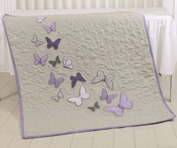 Butterfly Blanket Gray Purple Butterfly Quilt by Customquiltsbyeva