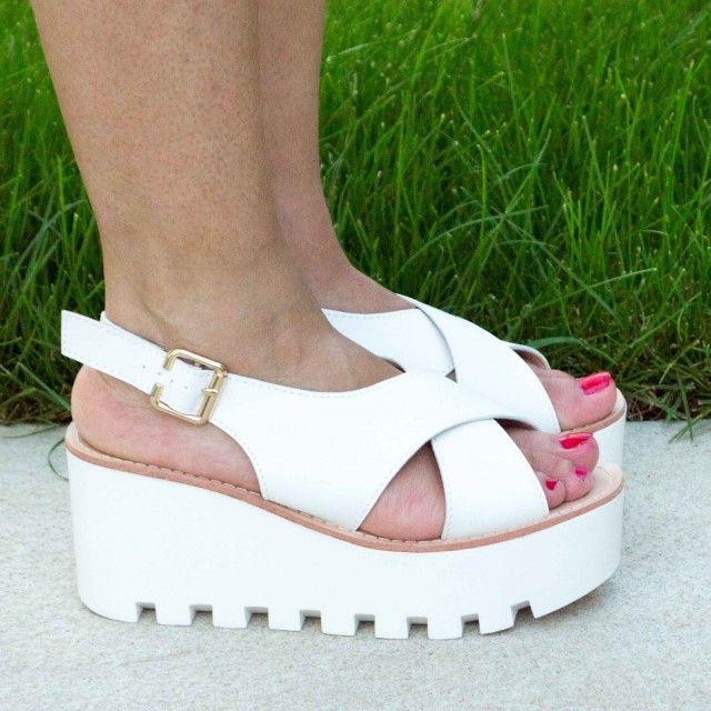 Poze Sandale Albe Syeira 7 cm