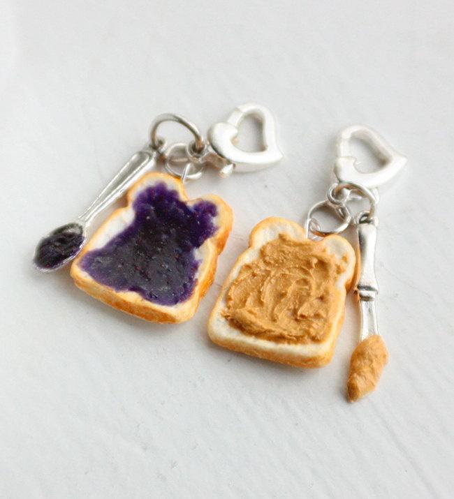 Peanut Butter and Grape Jelly Best Friends Pendant Charm Food Pendant - Miniature Food Jewelry