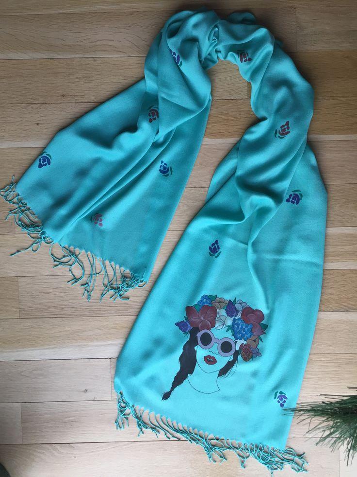 """""""Exotica"""" handpainted shawl"""