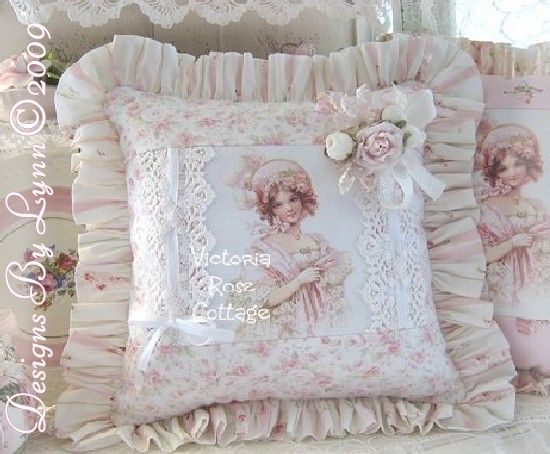 Pink Frances Brundage Victorian Girl Plume Hat Pillow Designs By Lynn-pink, roses, shabby, chic, ruffles, Victorian, Vintage, Lynn, Brundage,