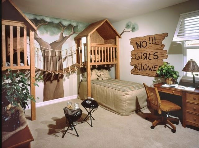 """Love the bridge! This reminds of """"The Little Rascals"""":)Kids Bedrooms, Toddlers Boys, Bedrooms Design, Boys Bedrooms, Little Boys Room, Kids Room, Trees House, The Bridges, Bedrooms Ideas"""