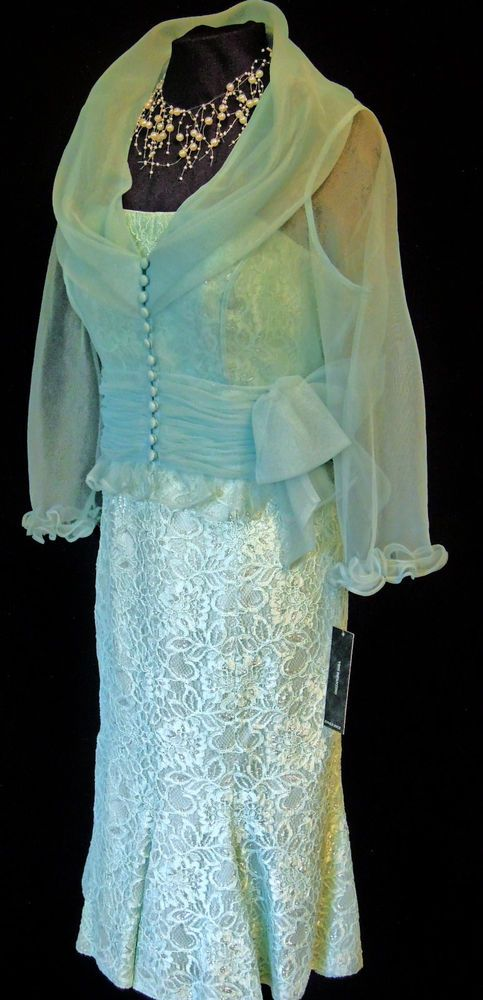 VENI INFANTINO(for Ronald Joyce), Blue, Fully Lined, Lace Dress and Chiffon Jacket. size UK12