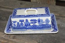 Antique Blue Willow Butter Dish China