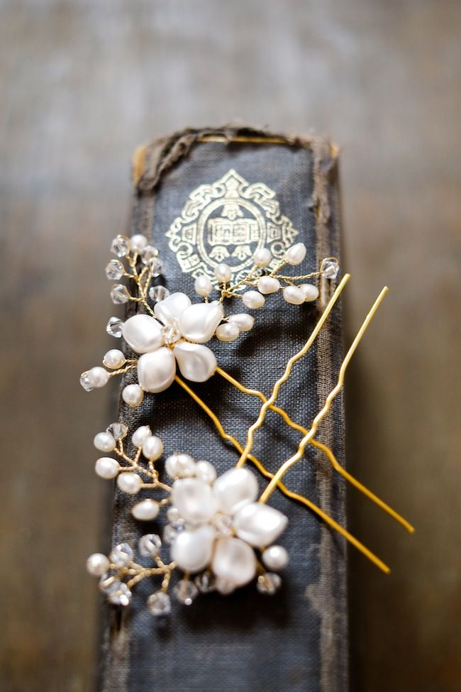 LAURA wedding hair pins. Romantic bridal accessories @Emily Schoenfeld Schoenfeld Martin Handmade
