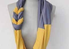 RESERVIERT loop aus jersey in grau und gelb - loop geflochten von StAnderswo - Tücher - Tücher & Schals - DaWanda