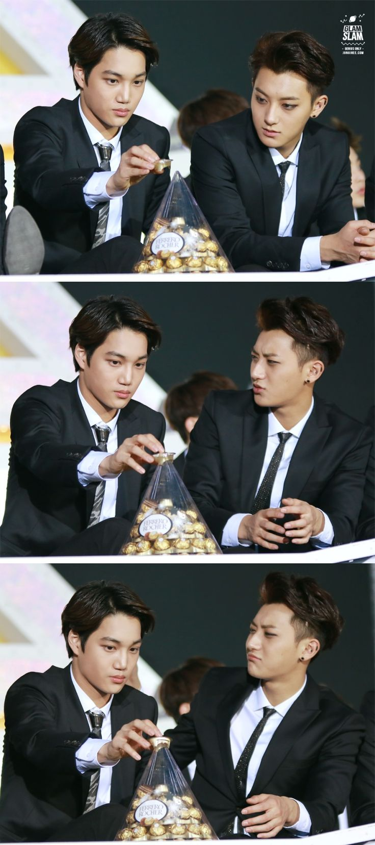 "Omg Tao's face lmaoooo he has that look like ""why you so stupid??"" and kai is just being adorable and oblivious"
