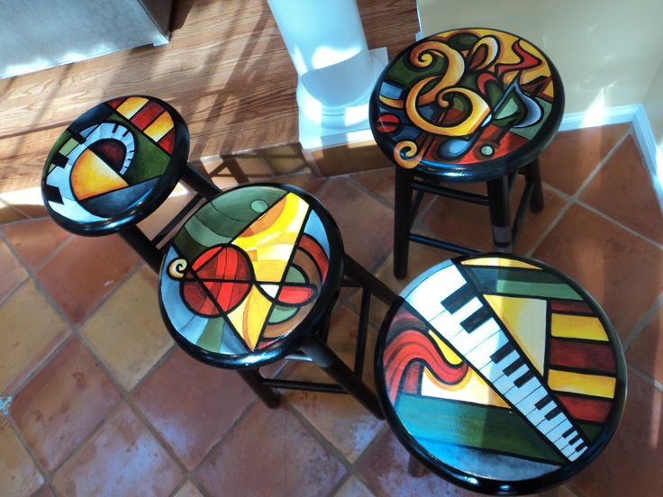 Hand painted abstract bright color stools