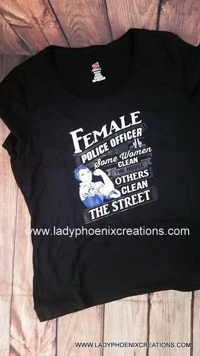 Rosie Riveter Female Police Officer - Crew neck tshirt