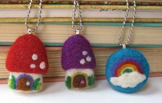 needle felted fairy houses and rainbow