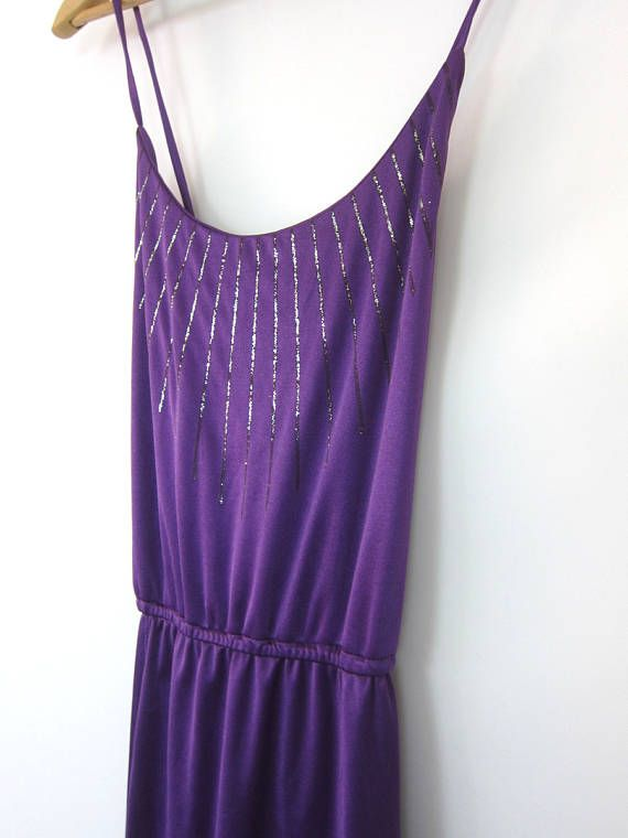 70s Purple Sundress SEXY Sparkle Vintage Dress Handkerchief