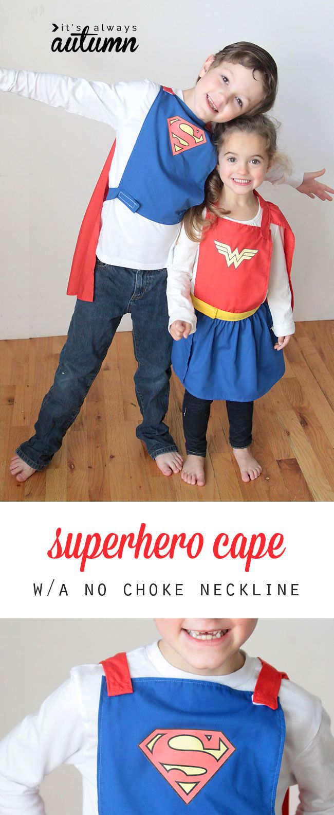 awesome! a superhero cape that won't choke the kid wearing it! great free sewing pattern & sewing tutorial.