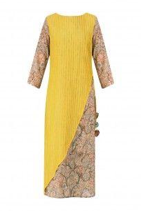 Yellow and Beige Printed Layered Kurta
