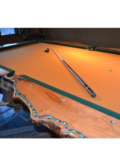Mesquite Pool Table With Inlaid Turquoise | Turquoise Butterfly