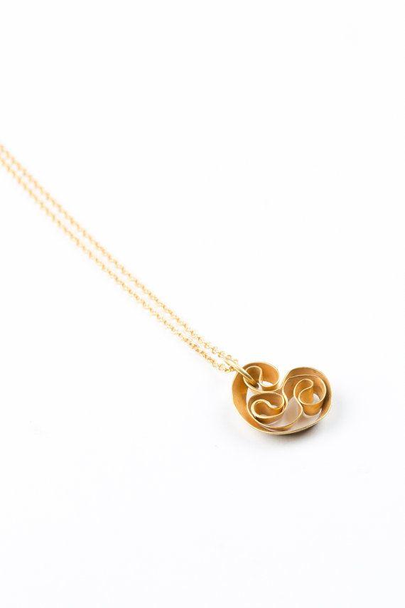 Collar colgante oro doble colgante mínimo shell por NOArtJewelry