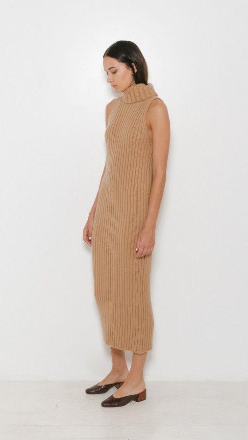 Ryan Roche Rib T Neck Sleeveless Dress | The Dreslyn