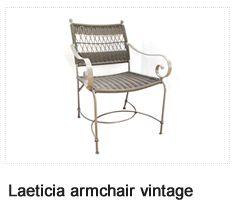 Laeticia Vintage Armchair. Patio Furniture. Outdoor Furniture, Aluminum & Polycane.