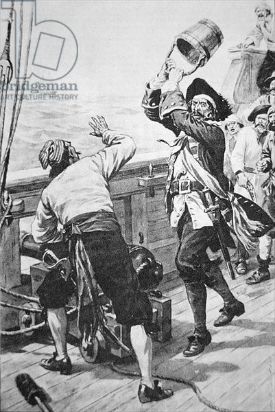 Captain Kidd kills William Moore with a bucket (litho)
