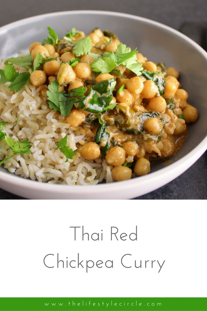 This Thai red chickpea curry with spinach is a real favourite. There are minimal ingredients and it's ready in 20 minutes.  Chickpeas are full of protein, iron, fibre and count towards your 5-a-day.