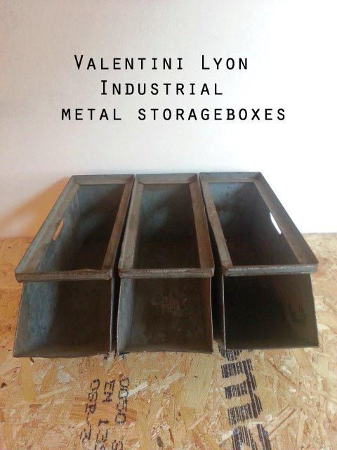 2 (1 sold) Industrial stackable Valentini Lyon archive containers / storage crates.