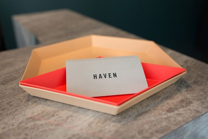 Business cards in Hay Kaleido trays | Haven (373 Dominion Road, Auckland) | Photo by the talented Jeremy Toth | Fit out by Material Creative.