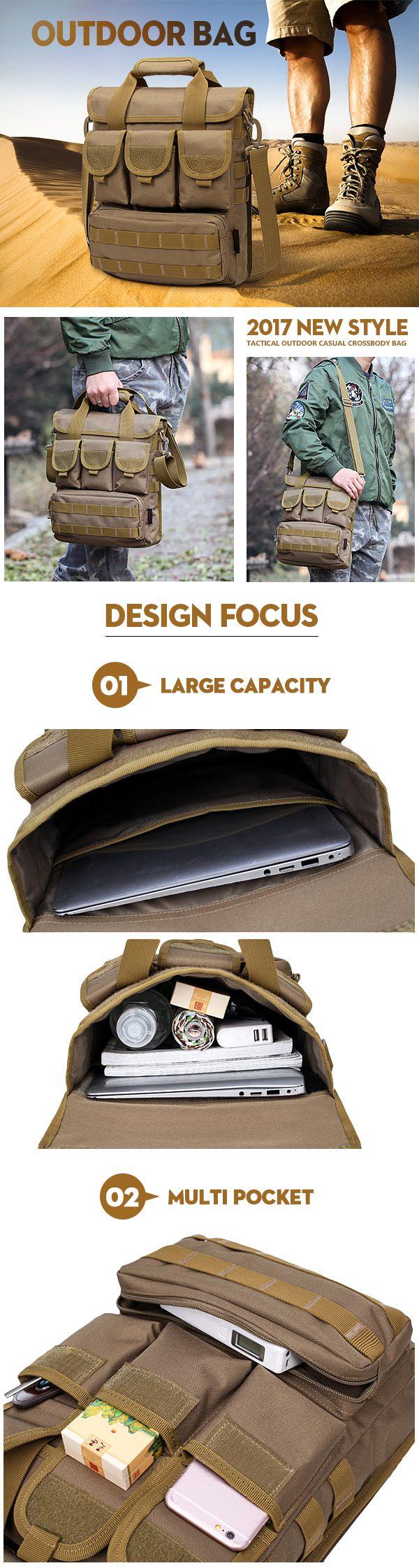 US$25.41 Outdoor Casual Crossbody Bag_ Sports Multi Pocket Oxford Sling Bag For Men_Multi Pocket Outdoor Shoulder Bag