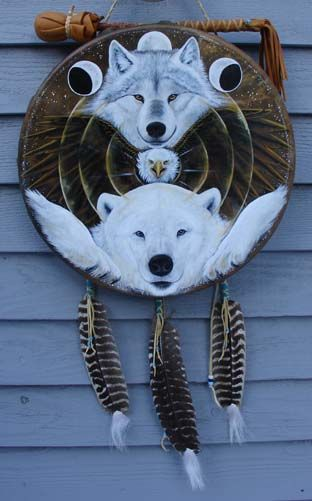Northern Totem Shield - Windwolf Studio :: Creativity at the speed of flight... Visionary symbolic artwork, prints, feather and drum paintings and t-shirts availabl...