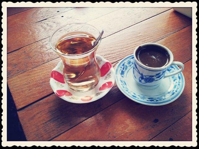 turkish coffee and apple tea