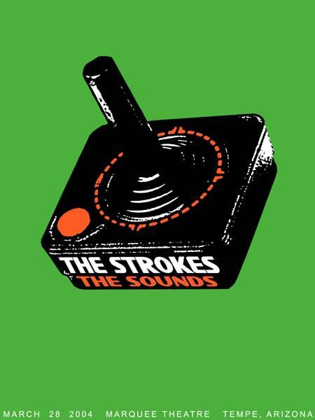 Concert Poster:  The Strokes , The Sounds  ( Artist: Rob Jones  / Animal Rummy / Screen Print / Silk Screen / Gig poster / rock poster / indie rock / atari joystick / green (