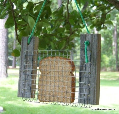 Bread or Toast Bird Feeder - Primitive Rustic Recycled Natural Weathered Rough Cedar and Hay String