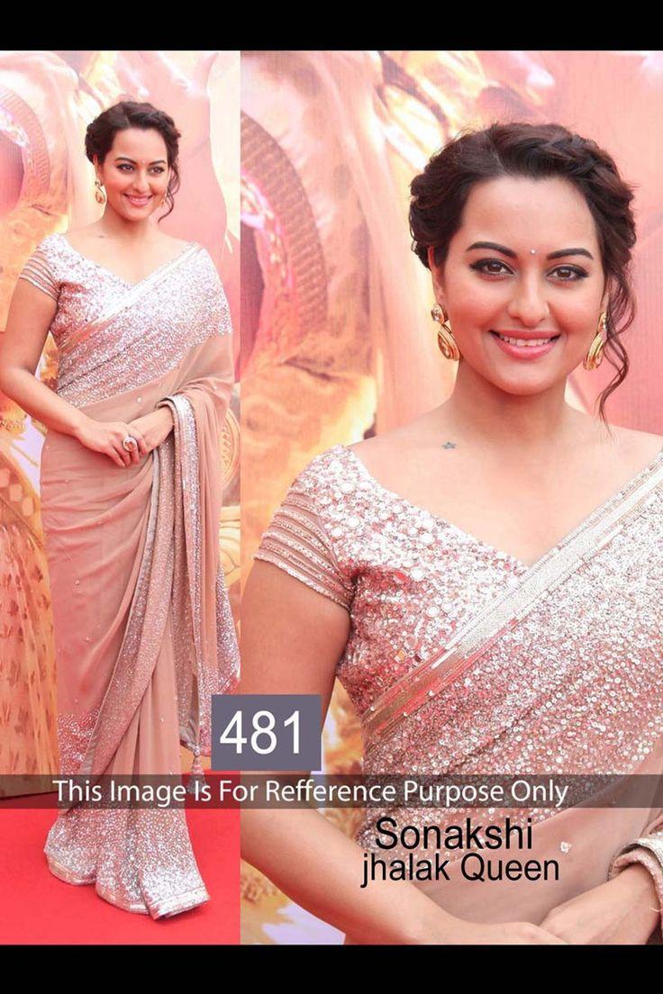 Sonakshi Sinha Peach Georgette Latest Bollywood Saree