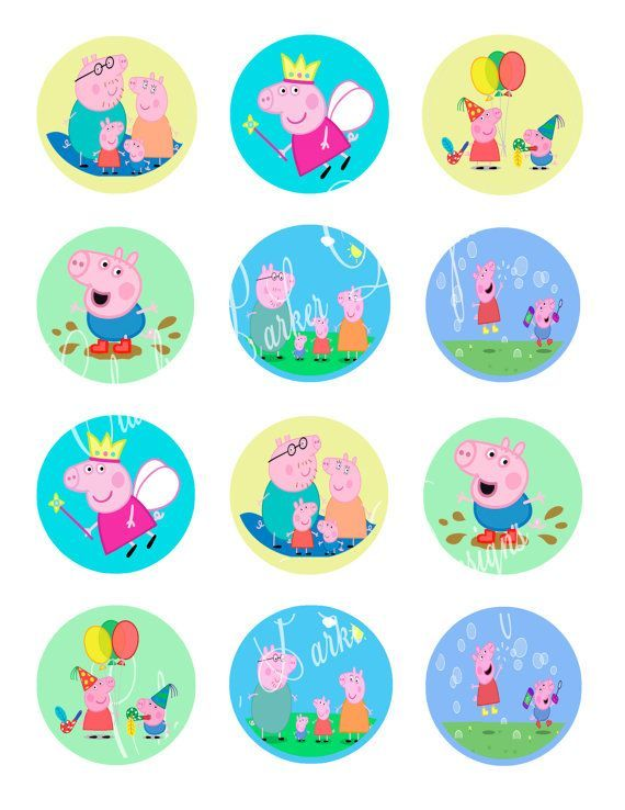 free printable peppa pig cupcake toppers - Buscar con Google