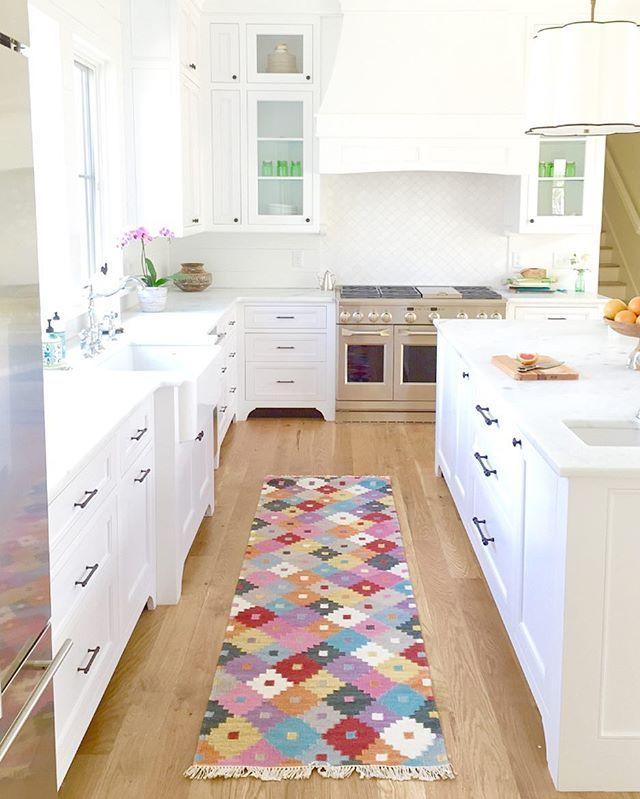 White Bright Kitchen + Colourful Rug
