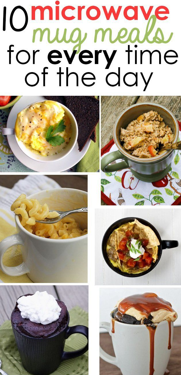 10 Microwave Mug Meal Recipes --- Scrambled eggs. Apple-banana oatmeal. Banana french toast. Quiche. Mac and cheese. Meatloaf. Chilaquiles. Chocolate Peanut Butter Cake. Nutella cake. Cheesecake.