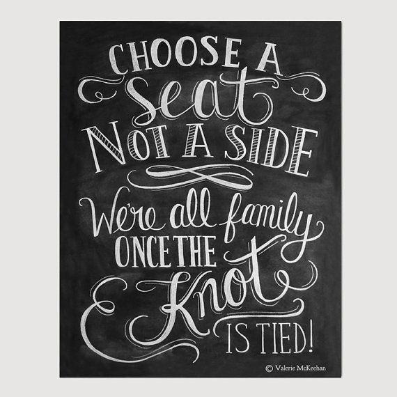 Choose A Seat Not A Side Print - Wedding Ceremony Sign - Wedding Print - 11x14 Print - Fall Wedding