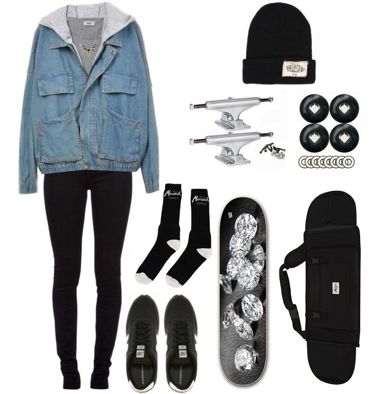 Skateboard accessories, backpack and clothing  for a fashion skater girl.  #skateboad #accessories #backpack #skater #girl
