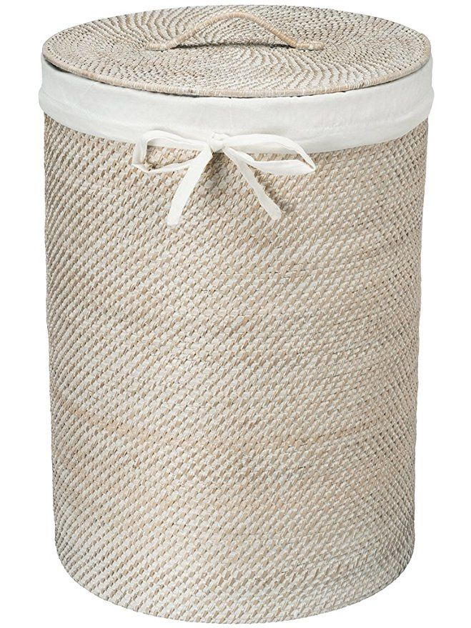Kouboo Round Rattan White Wash Hamper With Liner Laundry Hamper