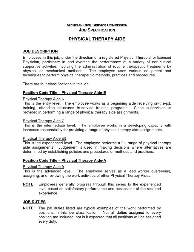 physical therapist resume aide example career services sample - physical therapist job description