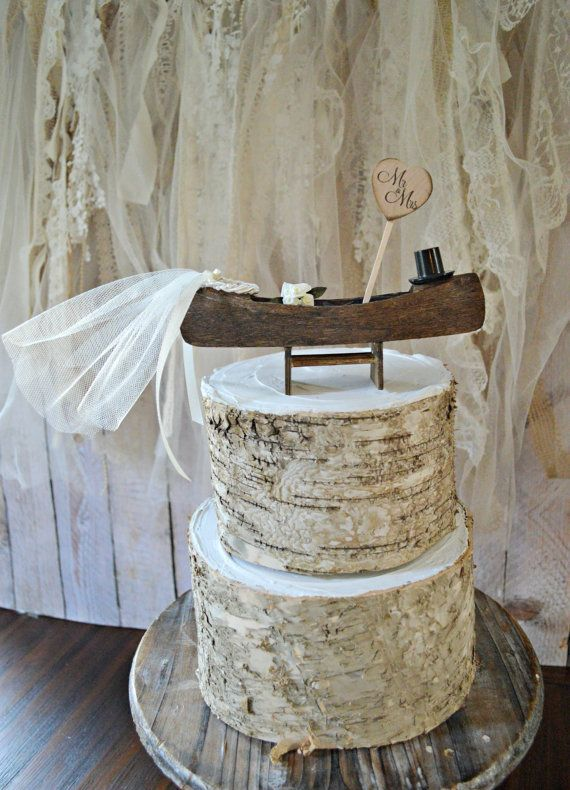Wedding Cake Topper Canoe Boat Row Ivory Rustic Woodland Mr And Mrs Sign Camping Hunting Fishing Bride Groom Outdoors